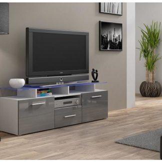 TV stolek Evora Mini bílý šedý lesk, bez osvětlení