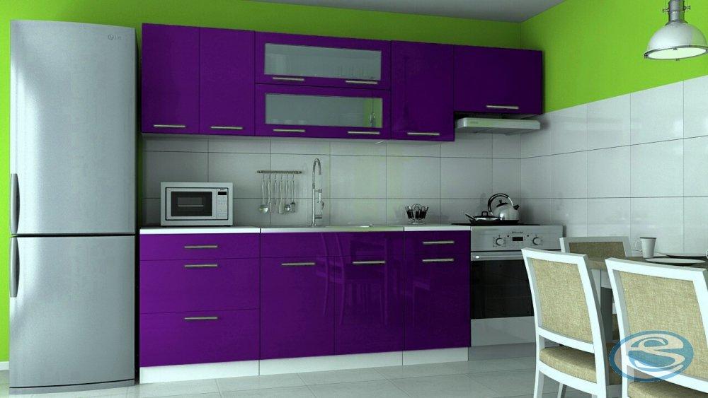 Kuchyňská linka Emilia 180/240 fialová vysoký lesk - FALCO