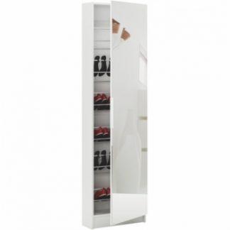Botník šestiřadový Kapater, bílá/zrcadlo - TempoKondela