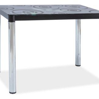 Jídelní stůl DAMAR II, sklo/černá-chrom
