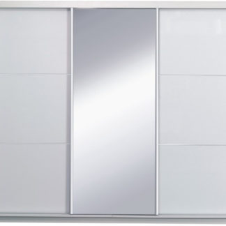 Tempo Kondela Skříň s posuvnými dveřmi, bílá / vysoký bílý lesk, x, ASIENA