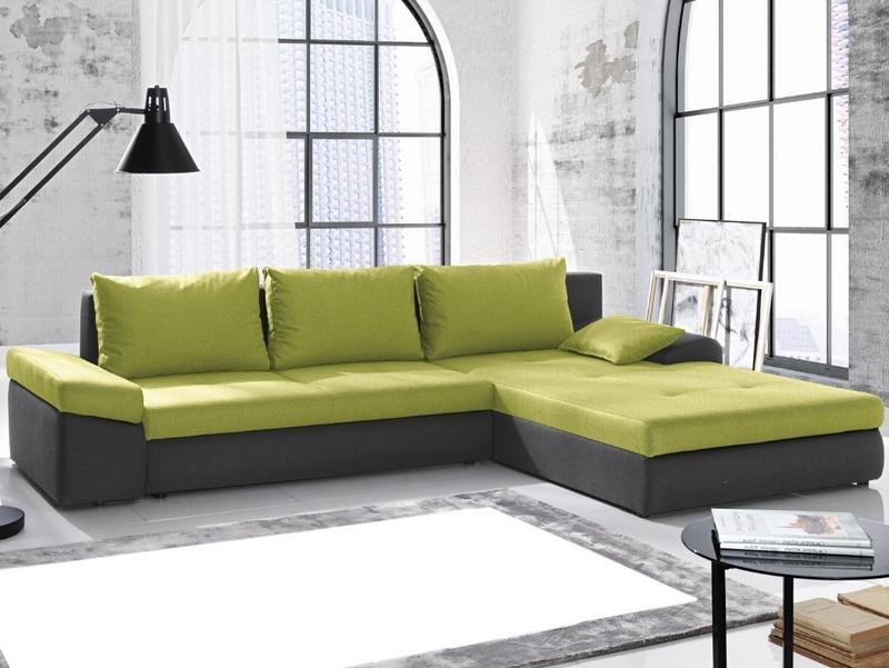 Rohová sedací souprava Bono, tmavě šedá/zelená tkanina