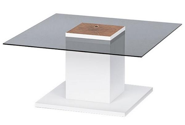Konferenční stolek Woods, bílý/sklo/dub