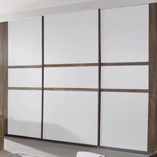 Šatní skříň Bernau, 271 cm, dub stirling/bílá, posuvné dveře