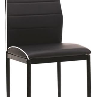 Jídelní židle Round, černá ekokůže