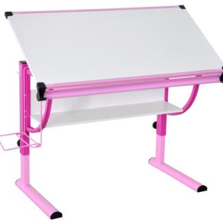 Polohovatelný psací stůl Roufas, růžový/bílý