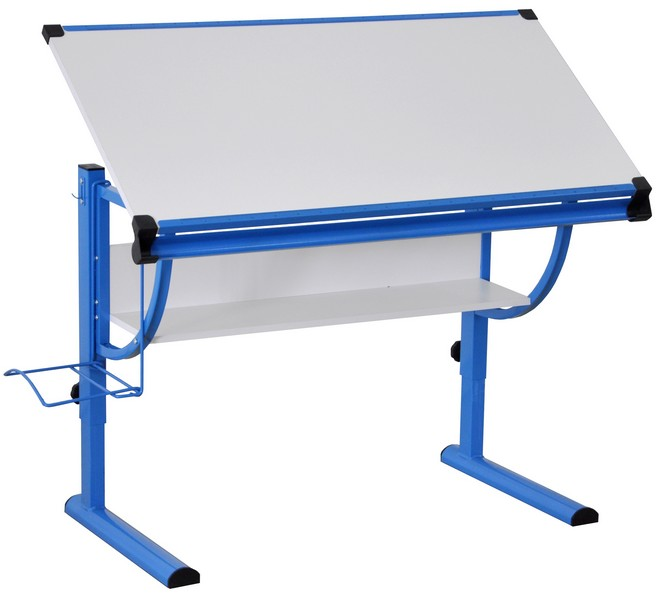 Polohovatelný psací stůl Roufas, modrý/bílý