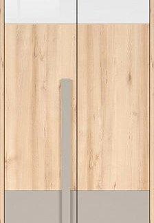 BRW Šatní skříň Namek SZF2D - buk iconic/bílý lesk/šedá