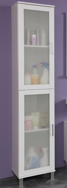 Koupelnová vysoká skříňka Orlando, bílá/satinované sklo