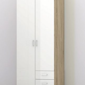 Šatní skříň Space 70425 dub sonoma/bílý lesk - TVI