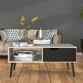 Retro konferenční stolek Oslo 75384 bílý/černý mat - TVI