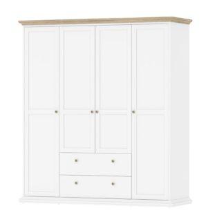 Čtyřdveřová bílá/dub šatní skříň Paris 75369 - TVI