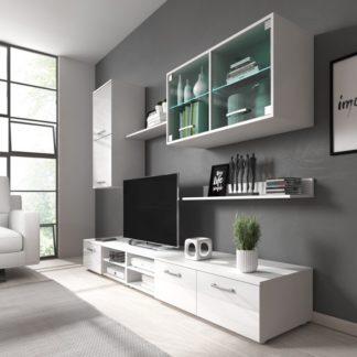 Obývací stěna Karolína bílý lesk+LED - FALCO