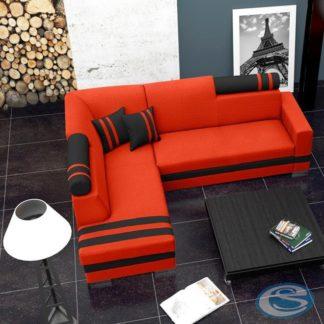 Rohová sedací souprava R1 oranžovo-černá - FALCO