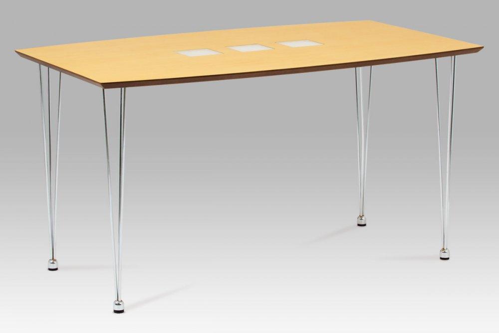 Jídelní stůl 135x80 cm, chrom / dýha natural (WD-5837-2) WD-5909 NAT Autronic