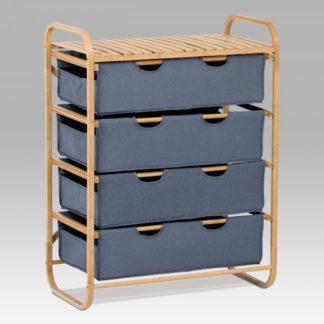 Regál bambusový 4-šuplíky (šuplíky v modré barvě) DR-018A Autronic