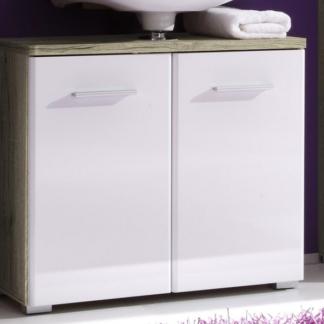 Koupelnová skříňka pod umyvadlo Barolo, dub san remo/lesklá bílá