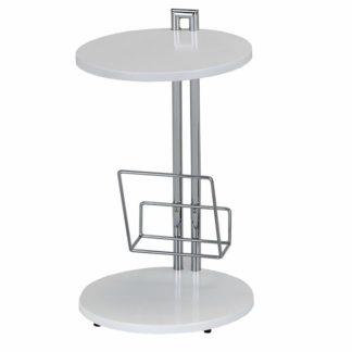 Příruční stolek s držiadkom na časopisy, bílá / chromovaná, ANABEL 0000006061 Tempo Kondela