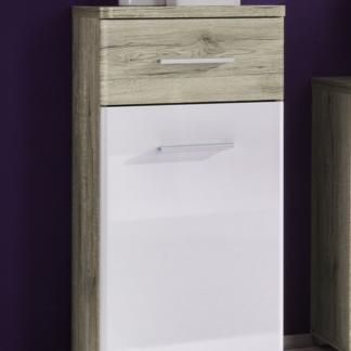 Koupelnová boční skříňka Barolo, dub san remo/lesklá bílá