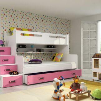 Patrová postel Max 3 x matrací PUR růžová - BM