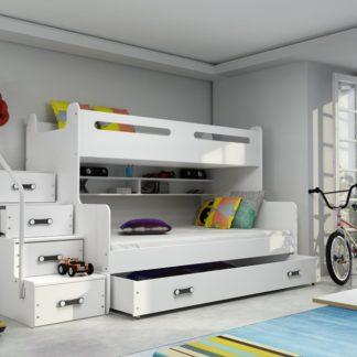 Dětská patrová postel Max 3 bílá - BM