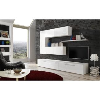 Obývací stěna, bílá/bílý extra vysoký lesk HG, ARIZONA 0000238821 Tempo Kondela