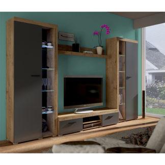 Obývací stěna, dub lefkas/grafit, NESEBAR XL 0000238825 Tempo Kondela