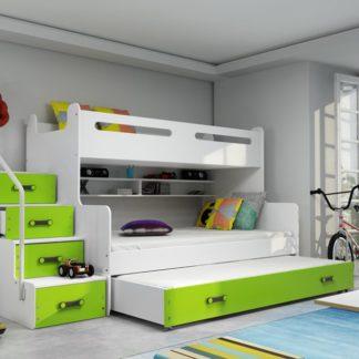 Dětská patrová postel Max 3 s přistýlkou zelená - BM