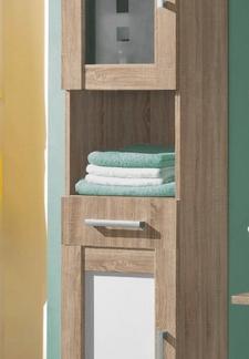 Koupelnová vysoká skříňka Poseidon, dub Sonoma