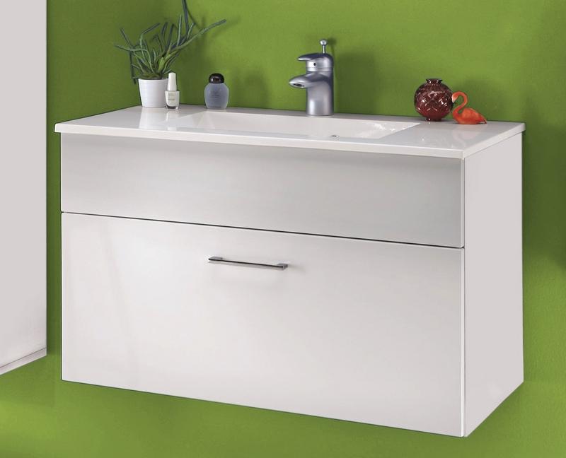 Koupelnová skříňka s umyvadlem Splash, lesklá bílá