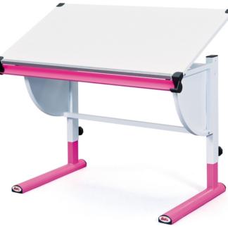 Polohovatelný psací stůl Cetrix, růžový/bílý