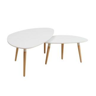 Set 2 konferenčních stolků, bílá / buk, FOLKO 0000191102 Tempo Kondela