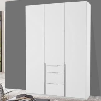 Šatní skříň se zásuvkami New York D, 135 cm, bílá/bílý lesk
