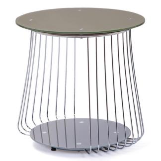 Odkládací stolek Rivoli, kov/cappuccino sklo