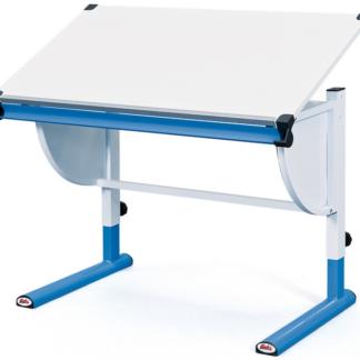Polohovatelný psací stůl Cetrix, modrý/bílý