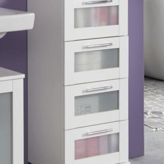 Koupelnová skříňka se zásuvkami Orlando, bílá/satinované sklo