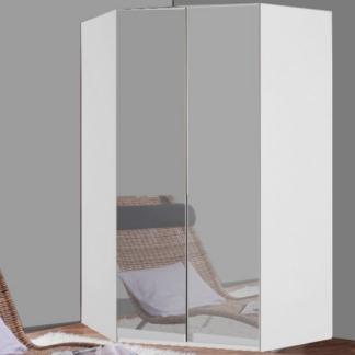 Rohová šatní skříň New York D, bílá/zrcadlo/osvětlení