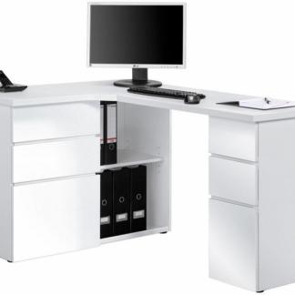 Rohový psací stůl Model 9543, bílý mat/bílý lesk