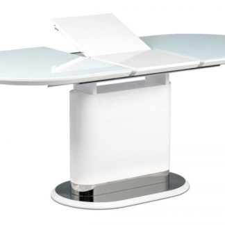 Jídelní rozkládací stůl AT-4020 WT bílá lesk / nerez Autronic