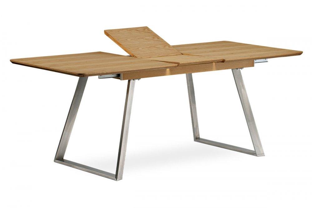 Jídelní stůl rozkládací HT-806 OAK dýha dub / broušený nerez Autronic