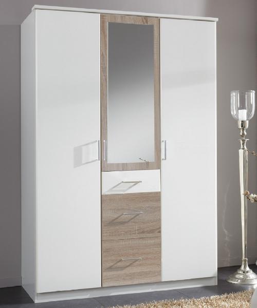 Šatní skříň Click, 135 cm, bílá/dub sonoma
