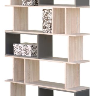 Vysoký regál/knihovna Cubix, dub sonoma/grafitově šedý
