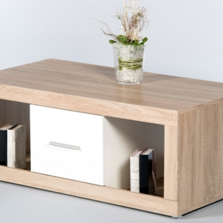 Konferenční stolek Cancan, dub sonoma/lesklá bílá