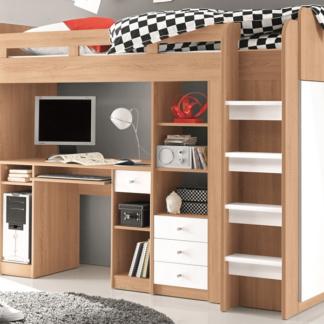 Zvýšená úložná postel se stolkem Unit