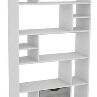 Regál/knihovna Sten 1, bílý/šedý beton