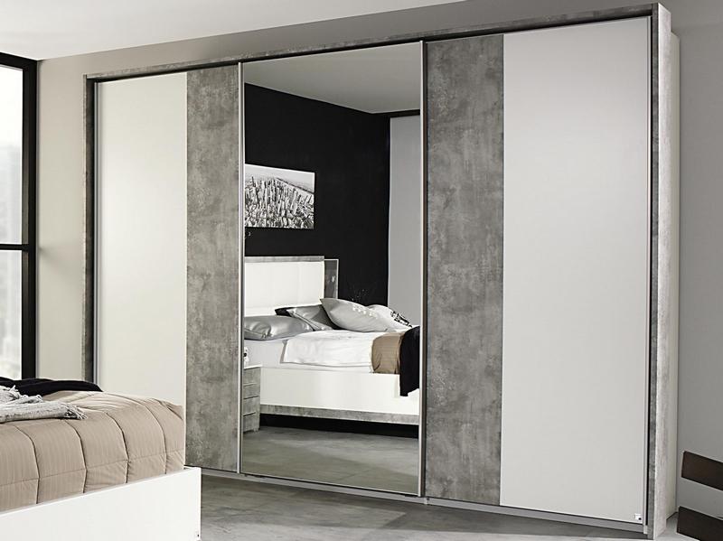 Šatní skříň Siegen, 271 cm, bílý/šedý beton