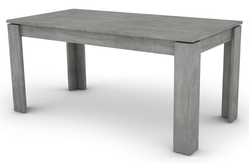 Jídelní stůl Inter 160x80 cm, šedý beton, rozkládací