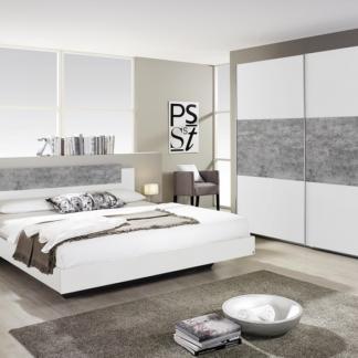 Sestava ložnice Marburg, bílá/šedý beton