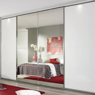 Šatní skříň Syncrono, 316 cm, bílá/zrcadlo