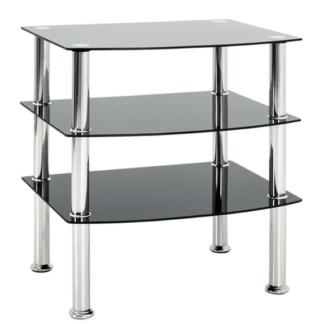 Odkládací stolek Katja 3, černé sklo